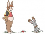 anthro bottomless buckteeth bunnelby clothed clothing digitigrade duo featureless_crotch feral flat_colors lagomorph looking_down male mammal nintendo pokéball pokémon pokémon_trainer rabbit rick_griffin signature size_difference standing stare teeth video_games