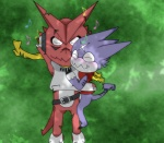 belt blush couple cuddling digimon eyes_closed facial_markings green_background gumdramon headphones lying male markings musical_note on_back on_side plain_background purple_body red_body scarf shoutmon sleeping tooth wildchildgumdramon   Rating: Safe  Score: 1  User: Test-Subject_217601  Date: December 15, 2011