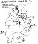 alcohol anthro beer beverage cub david_siegl disney drunk duo food koda male mammal monochrome pencil_(artwork) simple_background traditional_media_(artwork) white_background young  Rating: Questionable Score: 0 User: justafan Date: October 04, 2015