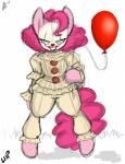 2017 aer0_zer0 balloon clothed clothing earth_pony equine friendship_is_magic grin hair hi_res horse it looking_at_viewer mammal my_little_pony pennywise_the_dancing_clown pink_hair pinkie_pie_(mlp) pony simple_background sketch smile solo white_background