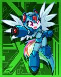 2014 armor crossover danmakuman equine female friendship_is_magic gun hair helmet mammal mega_man_(character) mega_man_(series) multi-colored_hair my_little_pony pegasus purple_eyes rainbow_dash_(mlp) rainbow_hair ranged_weapon solo weapon wings   Rating: Safe  Score: 12  User: 2DUK  Date: April 12, 2014