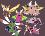 ambiguous_gender ariados durant dustox feral grey_background mega_pinsir mothim nintendo pokémon simple_background video_games yanmega