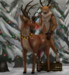 2017 absurd_res anal anal_penetration animal_genitalia animal_penis anthro anthro_on_feral antlers bell_collar bestiality cervine christmas christmas_lights collar deer duo feral hi_res holidays hooves horn jingle_bells koba koba_(character) male male/male mammal penetration penis red_nose reindeer reins rudolph snow tapering_penis yellow_eyesRating: ExplicitScore: 42User: kobaDate: December 13, 2017