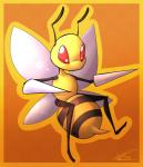ambiguous_gender antennae anthro arthropod bee beedrill cute flying insect insect_wings nintendo pokémon pokémon_(species) red_eyes sketh solo stinger video_games wings