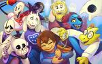 2016 alphys amalgamate ambiguous_gender animated_skeleton anthro asgore_dreemurr blonde_hair bone boss_monster caprine clothed clothing colored endogeny eye_patch eyes_closed eyewear facial_hair female fish flora_fauna flower flower_pot flowey_the_flower fur gaster ghost glasses goat group hair horn human humanoid lab_coat lizard long_ears lynxgriffin machine male mammal marine mettaton mettaton_ex napstablook papyrus_(undertale) plant protagonist_(undertale) reptile robe robot sans_(undertale) scalie skeleton smile spirit toriel undead undertale undyne video_games white_fur