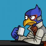 2015 anthro avian awkwardzombie beak bird blue_background blue_feathers clothed clothing coffee_mug cup digital_drawing_(artwork) digital_media_(artwork) edit falco_lombardi falcon feathers frown grey_clothing grey_topwear holding_cup jacket katie_tiedrich male nintendo reaction_image red_clothing red_scarf red_topwear scarf side_view simple_background sitting solo star_fox stare table too_early_for_this video_games