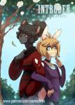 2017 anthro black_hair blonde_hair blue_eyes canine caninelove choker clothed clothing comic dog duo flower girly hair lagomorph leaf male mammal plant rabbit red_eyes smile teeth tree