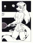 2001 <3 anthro ball black_and_white butt canine clothing cute dr_moreau female fox hair hi_res long_hair looking_at_viewer looking_back mammal monochrome panties pleated_skirt racquet rear_view skirt solo tennis tennis_ball tennis_racquet underwear upskirt  Rating: Questionable Score: 10 User: AWKnight Date: May 13, 2015
