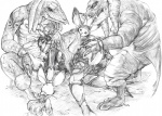 3_fingers animal_humanoid anthro bangaa being_watched butt butt_grab chubby clothed clothing ear_piercing erection female final_fantasy from_behind fuyusuke glans greyscale group group_sex hand_on_butt humanoid humanoid_penis interspecies lagomorph male male/female mammal monochrome moogle open_mouth pencil_(artwork) penetration penis penis_grab piercing pom_antenna porcine precum pussy rabbit_humanoid scalie seeq sex shallow_penetration skimpy spread_legs spreading tattoo threesome tongue tongue_out traditional_media_(artwork) video_games viera  Rating: Explicit Score: 3 User: Genjar Date: October 01, 2014