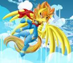 2014 amber_eyes blonde_hair bodysuit clothing cloud cloudscape equine eyewear feathers female feral friendship_is_magic fur goggles hair knifeh mammal my_little_pony open_mouth orange_hair outside pegasus scarf short_hair skinsuit sky solo spitfire_(mlp) wings wonderbolts_(mlp) yellow_feathers yellow_fur   Rating: Safe  Score: 14  User: Fur_in_the_dark  Date: November 01, 2014