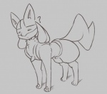 ? ambiguous_gender eyes_closed feral feralized grey_background lucario monochrome nintendo pokémon quadruped simple_background solo somnamg video_games