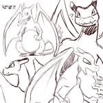 ? ambiguous_gender charizard cute dragon feral fire kiriya monochrome nintendo open_mouth pokémon scalie simple_background sketch solo teeth video_games  Rating: Safe Score: 3 User: DeltaFlame Date: September 24, 2015