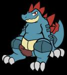 2018 aliasing belly crocodilian erection feral feraligatr male nintendo penis pokémon pokémon_(species) reptile scalie simple_background sitting slightly_chubby smile solo trout_(artist) video_games