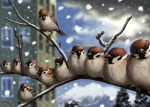 2012 ambiguous_gender avian bird blurry branch building claws cloud eurasian_tree_sparrow eyes_closed feral looking_at_viewer mountain original outside scenery sky snow snowing sparrow taku tree window wings wood   Rating: Safe  Score: 13  User: AnacondaRifle  Date: February 25, 2012