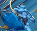 abs abstract_background anthro anthrofied athletic biceps big_muscles clawitzer male muscular muscular_male nintendo pecs pokémon pokémorph simple_background solo standing vein video_games waddledox yellow_eyes