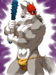 abs anthro biceps canine facial_markings fundoshi fur hair kemono looking_at_viewer male mammal markings mask morenatsu muscles nipples pecs plain_background scar shirako solo ten_kodori underwear weapon wolf   Rating: Questionable  Score: 8  User: BlackBoltEX  Date: March 25, 2014