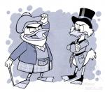 2018 4_fingers abstract_background anthro avian bird bottomless cane clothed clothing corgi_(artist) crossed_arms disney duck ducktales duo eyewear feathers fist_pump flintheart_glomgold glasses greyscale hat kilt male monochrome open_mouth open_smile pince-nez raised_arm scrooge_mcduck smile standing top_hat watermark webbed_feet white_feathers