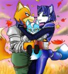 anthro black_nose blue_fur blue_hair bodysuit canine clothing couple cub family father female fox fox_mccloud fur green_eyes group hair krystal male mammal marcus_mccloud mother nintendo parent short_hair skinsuit son star_fox unknown_artist video_games white_fur young  Rating: Safe Score: 6 User: Cαnε751 Date: June 14, 2015