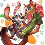 abstract_background anthro barefoot canine clothing coffee_cup crossed_legs disney duo eyewear female fox green_eyes inner_ear_fluff judy_hopps lagomorph looking_at_viewer male mammal nick_wilde pawpads police_uniform purple_eyes rabbit smile sunglasses uniform zootopia +15_(artist)  Rating: Safe Score: 2 User: Vallizo Date: April 28, 2016