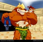 2015 abs bandicoot barefoot big_muscles big_pecs bulge clothed clothing crash_bandicoot crash_bandicoot_(series) grabbing green_eyes grin gs helmet imminent_sex jeans loincloth male mammal marsupial muscles nude pecs sharp_teeth size_difference teeth thylacine tiny_tiger video_games yellow_sclera  Rating: Questionable Score: 1 User: MoonRanger Date: July 28, 2015