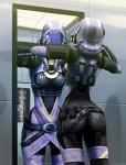 3_fingers alien armor bodysuit breasts butt clothed clothing enviro-suit female ghostfire helmet mass_effect mirror quarian sci-fi skinsuit solo suit tali'zorah_nar_rayya   Rating: Safe  Score: 13  User: DragonOfTheMidnight  Date: September 24, 2013
