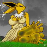 2015 anthro big_breasts breasts clothed clothing dirty_feet dress eeveelution female foot_focus grass hill humanoid_feet jolteon lightning nintendo plantigrade pokémon solo video_games zp92  Rating: Safe Score: 3 User: slyroon Date: February 21, 2016