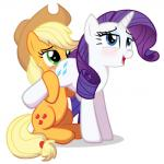 2015 applejack_(mlp) blonde_hair blue_eyes blush cowboy_hat cutie_mark duo earth_pony equine eyeshadow female female/female feral freckles friendship_is_magic green_eyes hair hat horn horse long_hair makeup mammal my_little_pony open_mouth oral pony purple_hair rarity_(mlp) sex simple_background spectre_z unicorn white_background  Rating: Explicit Score: 15 User: lemongrab Date: August 23, 2015