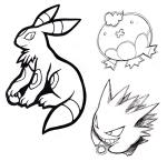chest_tuft chibi drifblim eeveelution evil_grin gengar group line_art nintendo pokéball pokémon simple_background sketch smile tuft umbreon video_games white_background zaikudo