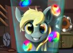 2015 amber_eyes blonde_hair derpy_hooves_(mlp) equine fan female feral friendship_is_magic fur furniture glowing grey_fur hair inside laboratory looking_at_viewer mammal my_little_pony orb pegasus rainbow scootiebloom smile solo wings  Rating: Safe Score: 8 User: ConsciousDonkey Date: January 27, 2016