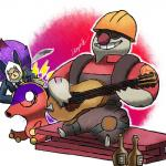 dragonith engineer_(team_fortress_2) girder guitar gurdurr humanoid musical_instrument nintendo octillery playing_guitar playing_music pokémon spy_(team_fortress_2) team_fortress_2 valve video_games zoroark