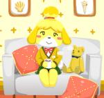 animal_crossing anthro black_nose canine clothing dog dress female hair hair_ornament isabelle_(animal_crossing) mammal nintendo short_hair sitting solo unknown_artist video_games  Rating: Safe Score: 1 User: Cαnε751 Date: November 09, 2015