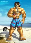 anthro beach braford clothed clothing cloud feline footwear hair lion male mammal muscles nipples outside sandals seaside shorts solo water  Rating: Safe Score: -1 User: Vinea Date: August 26, 2015
