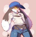 abstract_background anthro blush bulge clothed clothing crossdressing digital_media_(artwork) fangs girly hat jeans keyhole_turtleneck klonoa klonoa_(series) lagomorph long_ears male mammal necklace nipples open_mouth rabbit shaolin_bones simple_background skimpy slit_pupils solo sweat sweater teeth thong yellow_eyes yellow_sclera  Rating: Questionable Score: 36 User: Butterbutts Date: December 25, 2014