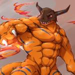 abs abstract_background anthro biceps big_muscles claws digimon dragon greymon horn male muscles open_mouth pecs red_eyes reptile scalie simple_background solo standing teeth tongue video_games waddledox  Rating: Safe Score: 5 User: W3r3gam3r Date: August 02, 2015
