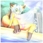 anthro biped camel_toe canine clothing female fox hazukikai hi_res mammal solo spread_legs spreading swimming_pool swimsuit water  Rating: Questionable Score: 5 User: speks Date: January 17, 2015
