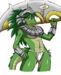 2014 anthro armor bone breasts camel_toe claws clothed clothing collar crocodile crossgender female food green_hair green_scales hair helmet hungry league_of_legends licking licking_lips long_hair looking_at_viewer navel open_mouth red_eyes renekton reptile scales scalie simple_background skimpy skykain slit_pupils solo teeth thought_bubble tongue tongue_out unconvincing_armor underwear video_games weapon white_background  Rating: Questionable Score: 17 User: GameManiac Date: May 10, 2015