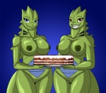 anthro big_breasts blue_eyes breasts cake claws clitoris clitoris_piercing crovirus duo ear_piercing female food genital_piercing gradient_background green_body looking_at_viewer nintendo nipple_piercing nipples nude piercing pokémon pokémorph pussy pussy_piercing red_eyes reptile scalie simple_background smile teeth tyranitar video_games  Rating: Explicit Score: 15 User: xthunderx Date: January 29, 2014
