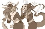 anthro antlers blush breasts clothed clothing dragon eastern_dragon female horn japanese_clothing kimono mask open_mouth paperclip_(artist) pouch