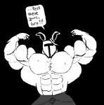 abs armor biceps big_muscles clothing helmet lagomorph male mammal monochrome muscular pecs rabbit rg01 ripped-saurian solo text undertale  Rating: Safe Score: 0 User: Tealmarket Date: October 09, 2015