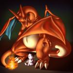 ambiguous_gender blue_eyes charizard claws dragon duo fire hi_res kangaskhan long_neck looking_up mykiio nintendo pokémon sitting size_difference video_games wide_hips wings  Rating: Safe Score: 13 User: PokemonArtist Date: January 04, 2016