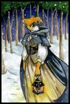 anthro canine cloak clothing dress female forest fox lamp lantern mammal outside snow solo tracy_j_butler tree wood worried   Rating: Safe  Score: 3  User: The Dog In Your Guitar  Date: March 01, 2007