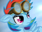 animated blonde_hair blue_feathers blue_fur blue_hair equine eyewear feathered_wings feathers female feral friendship_is_magic fur goggles green_hair hair mammal multicolored_hair my_little_pony orange_hair pegasus purple_eyes purple_hair rainbow_dash_(mlp) rainbow_hair red_hair solo twodeepony wings