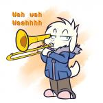 2018 asriel_dreemurr blush boss_monster bovid caprine clothing crackers digital_drawing_(artwork) digital_media_(artwork) fur goat green_eyes half-closed_eyes male mammal musical_instrument reaction_image slippers solo standing text trombone undertale video_games white_fur