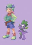 anthro clothing dragon fangs feral friendship_is_magic gloves green_eyes green_hair hair human humanized male mammal my_little_pony plain_background purple_scales sapphire1010 scalie spike_(mlp) square_crossover   Rating: Safe  Score: 8  User: jojo400  Date: April 20, 2012