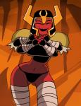 2015 alien animated armor ben_10 big_breasts bra breasts clothing dboy female flashing looma_red_wind panties red_skin smile solo tetramand underwear  Rating: Questionable Score: 6 User: Robinebra Date: October 01, 2015