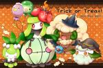 2011 ambiguous_gender balloon blush cottonee female group halloween holidays humanoid lilligant nintendo one_eye_closed petilil pokémon red_eyes unknown_artist video_games whimsicott wink