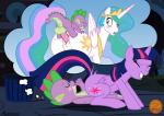 2016 anus backsack balls biting_lip blush clenched_teeth dragon dream equine erection eyes_closed feathered_wings feathers female feral friendship_is_magic from_behind_position group hi_res horn looking_back male mammal my_little_pony open_mouth penetration penis princess_celestia_(mlp) purple_eyes pussy pussy_juice raised_tail rear_view sex sleep_sex sleeping spike_(mlp) teeth thought_bubble twilight_sparkle_(mlp) vaginal vaginal_penetration winged_unicorn wings zeta_r-02  Rating: Explicit Score: 42 User: Robinebra Date: April 20, 2016
