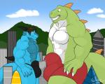 abs absurd_res anthro beta_tyson big_dino bigsol building bulge city clothing cloud detailed_background dinosaur dragon duo hi_res invalid_tag macro male muscular outside pecs shorts sky smoosh smothering theropod thong tyrannosaurus_rex  Rating: Explicit Score: 3 User: SR71BETA Date: May 01, 2016