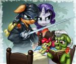 2015 amber_eyes apple_bloom_(mlp) applejack_(mlp) bed blonde_hair blue_eyes book bow earth_pony equine female freckles friendship_is_magic granny_smith_(mlp) green_eyes group hair harwick hi_res horn horse lying mammal mask melee_weapon my_little_pony pony purple_hair rarity_(mlp) red_hair rocking_chair sick sitting sword thermometer unicorn weapon white_hair wounded  Rating: Safe Score: 9 User: 2DUK Date: January 27, 2015