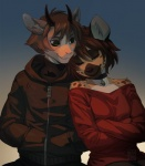 antelope anthro brown_hair clothed clothing collar duo female green_eyes hair horn hyena inner_ear_fluff male mammal melloque smileRating: SafeScore: 7User: MillcoreDate: April 21, 2017